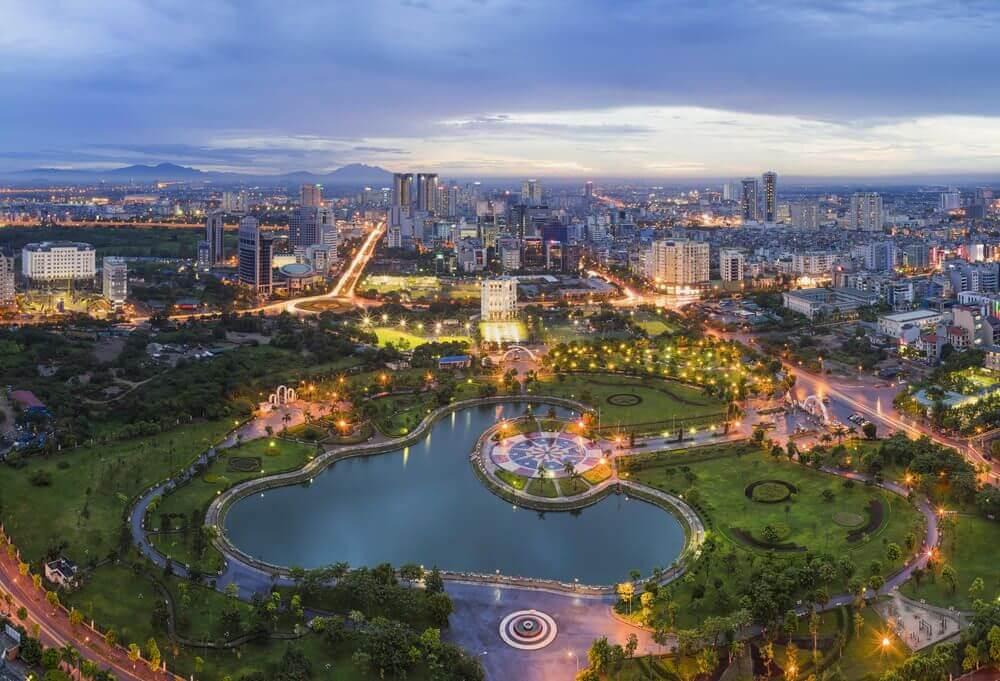 Hanoi vanuit de lucht