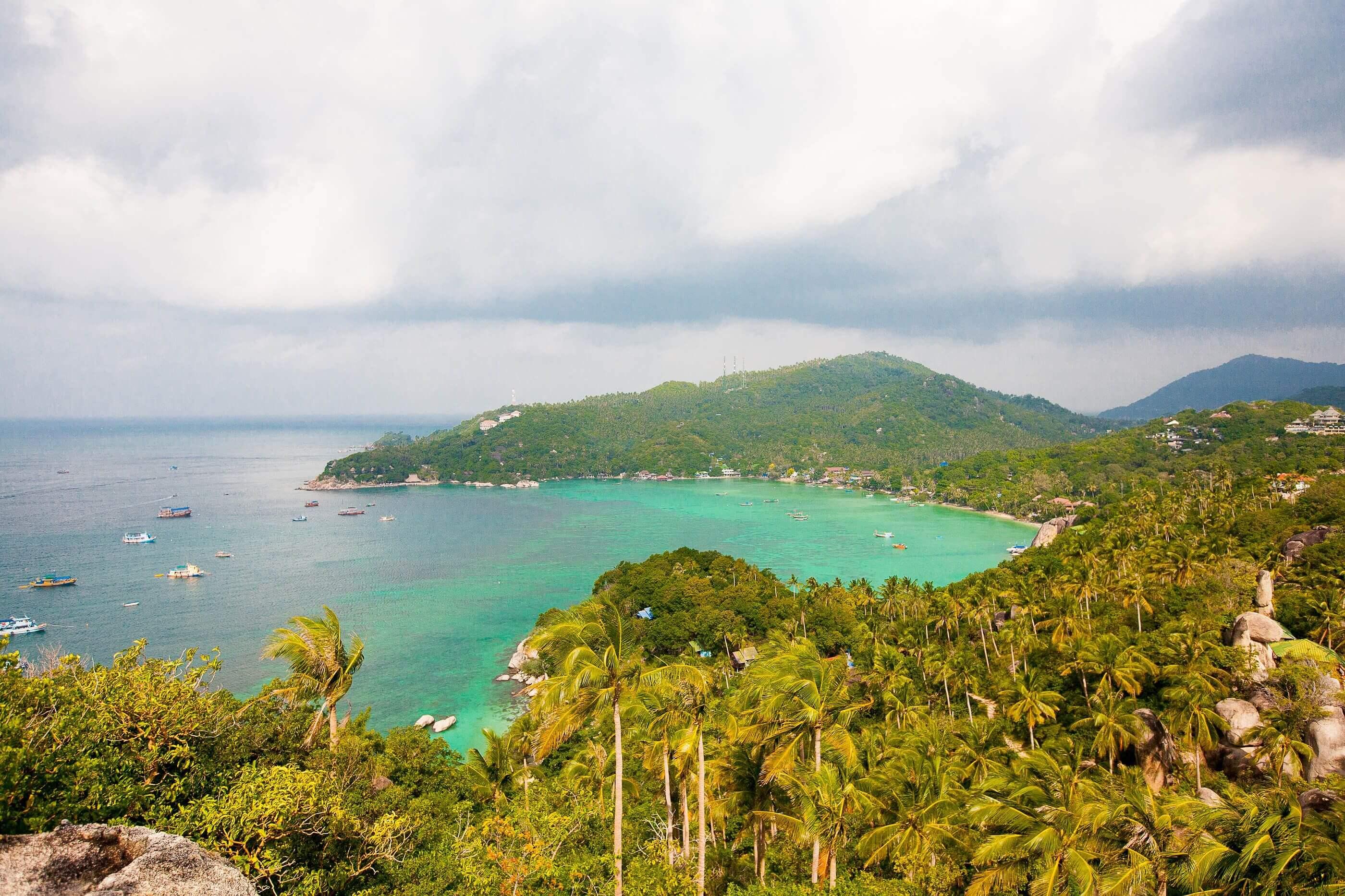 het eiland vanuit de lucht
