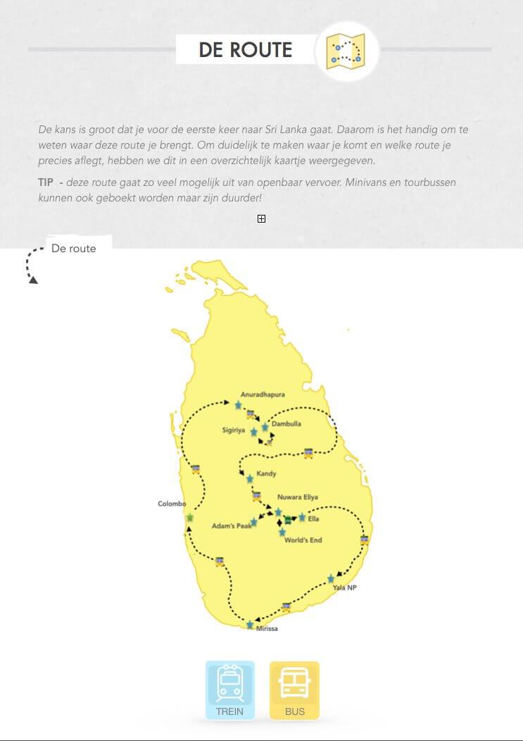 route Reisgids Sri lanka