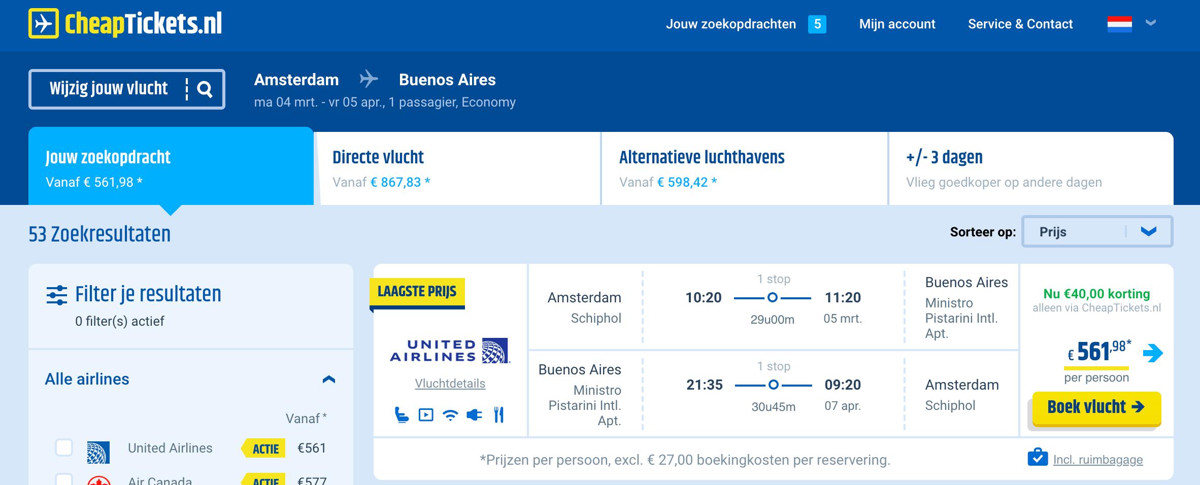 Vliegtickets naar Argentinië