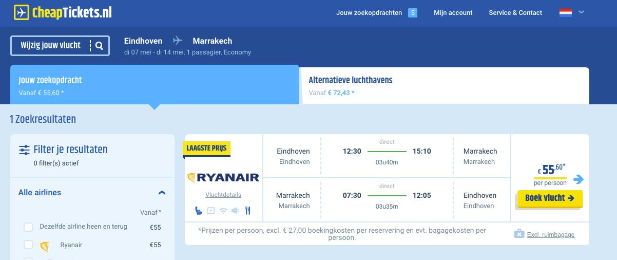Vliegtickets naar Marokko