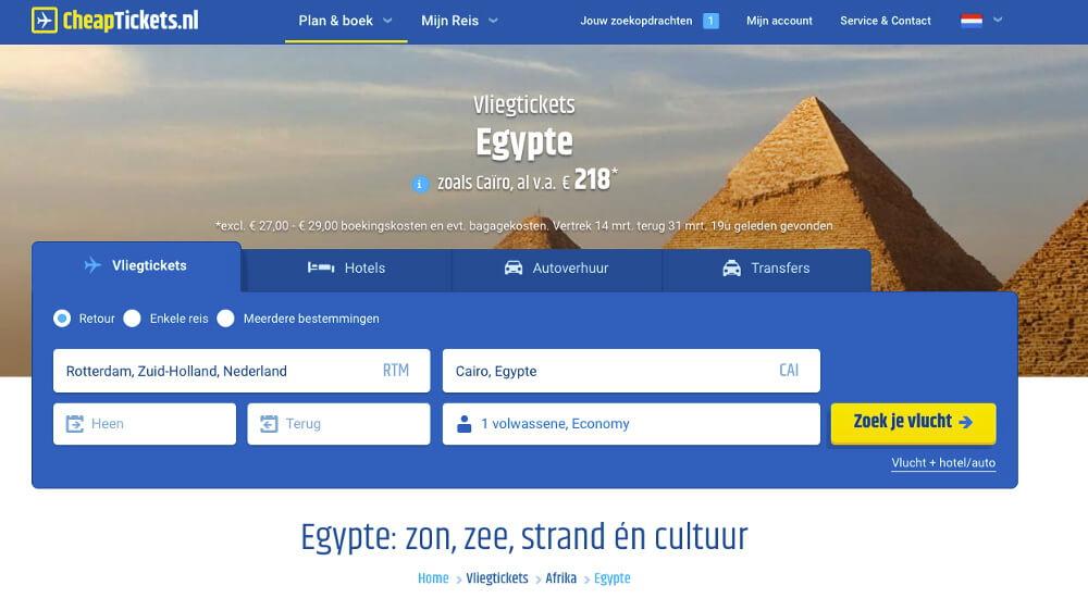 Vliegtickets naar Egypte