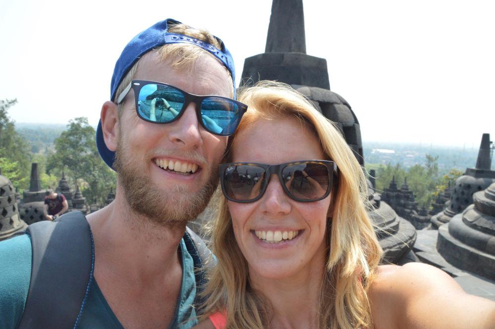 Sjoerd en kim bij de Borobudur