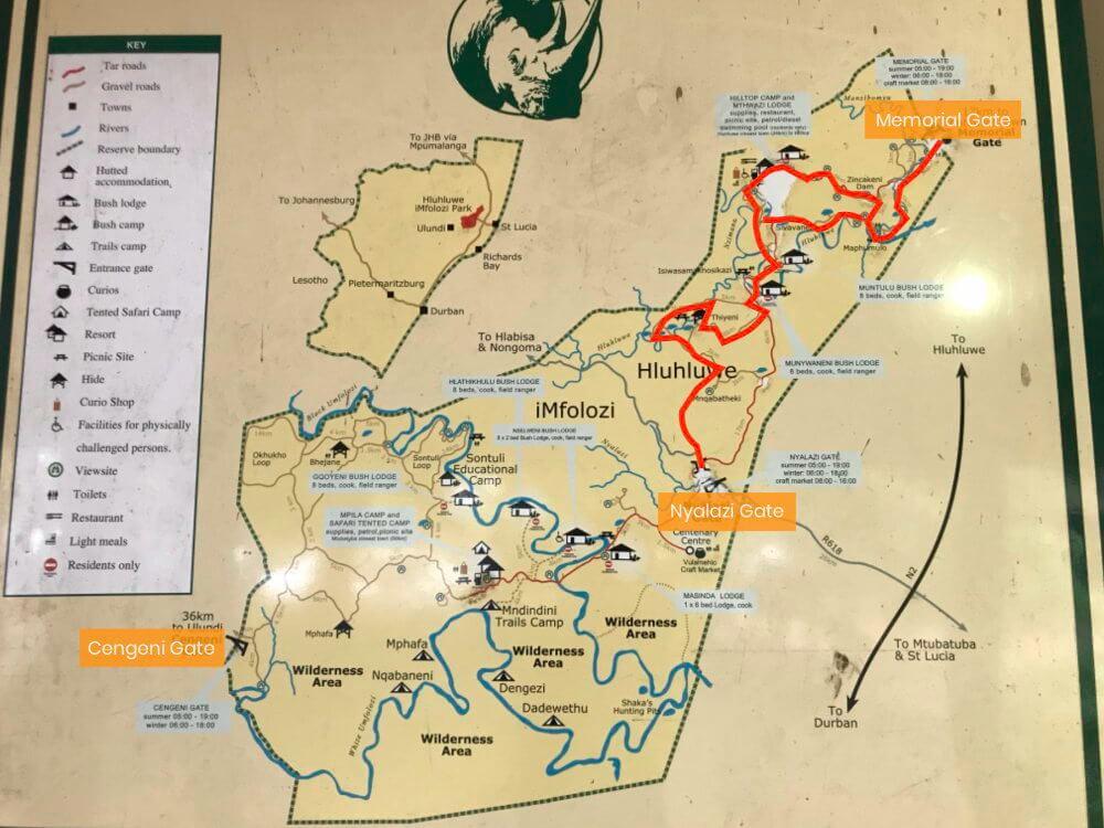 Kaart van het Hluhluwe National Park