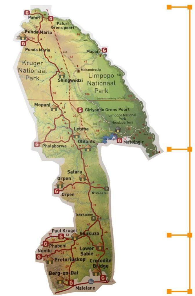 Kaart Kruger National Park