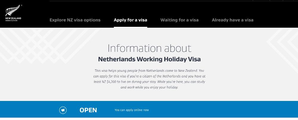 Working Holiday Visum voor Nieuw-Zeeland