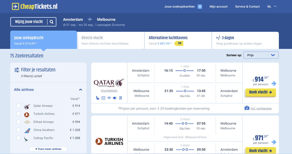 Vliegtickets naar Australië