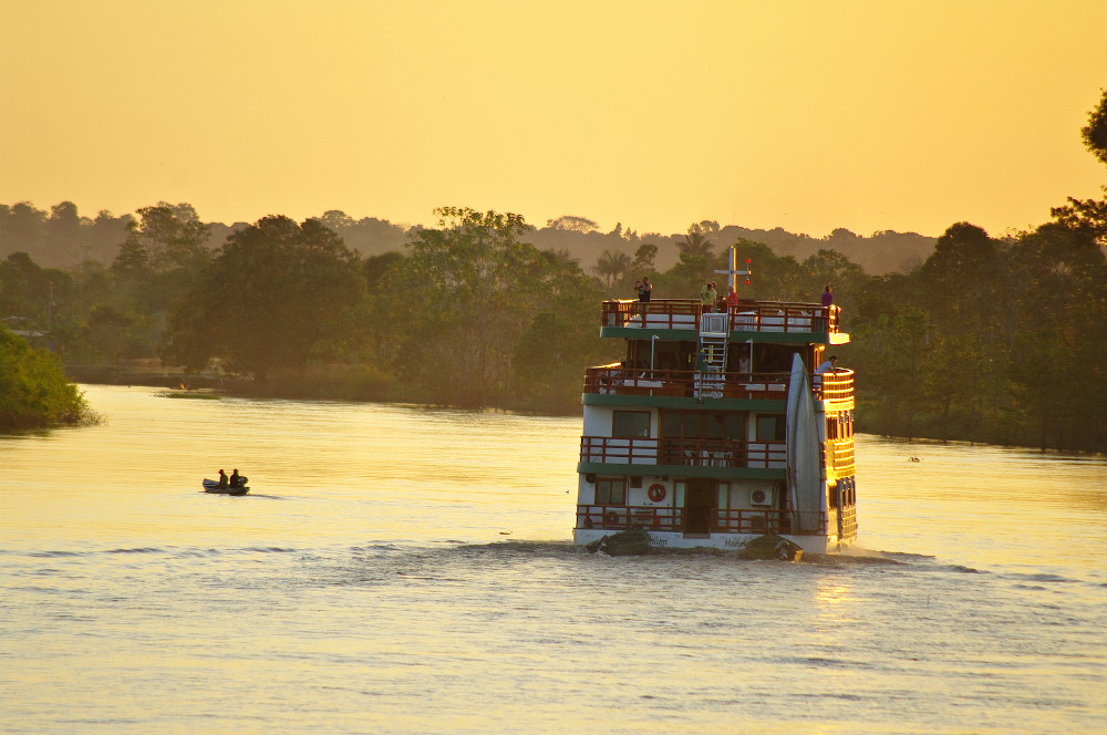 Cruise Boat On The Amazon River