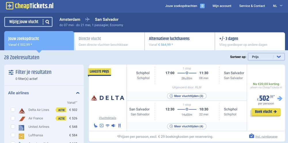 Vliegtickets naar El Salvador