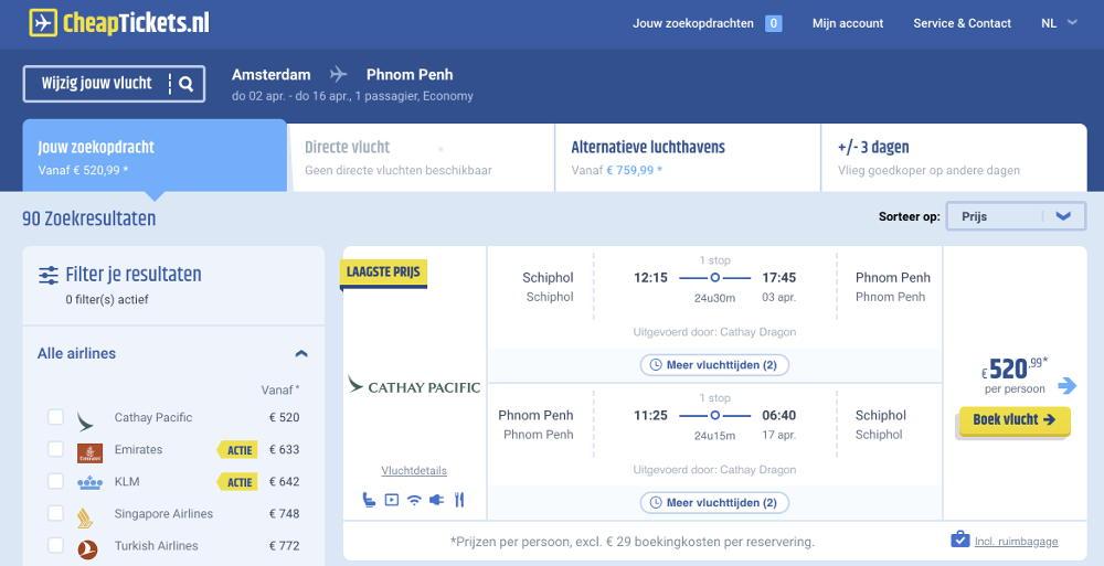 Vliegtickets naar Cambodja