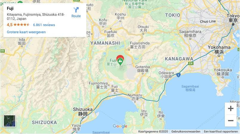 Locatie Mount Fuji