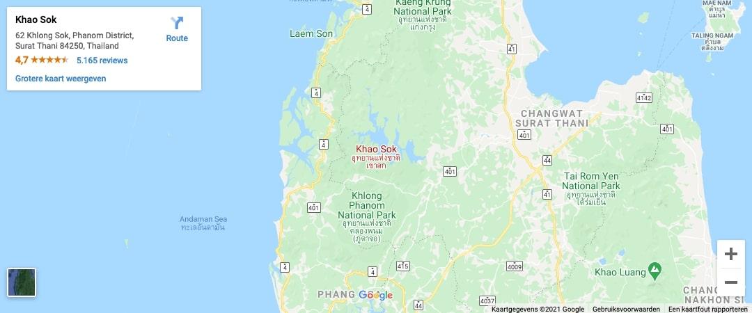locatie Khao Sok National park