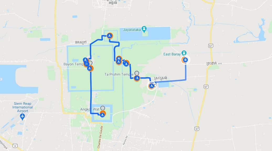 Kaart Angkor tempels