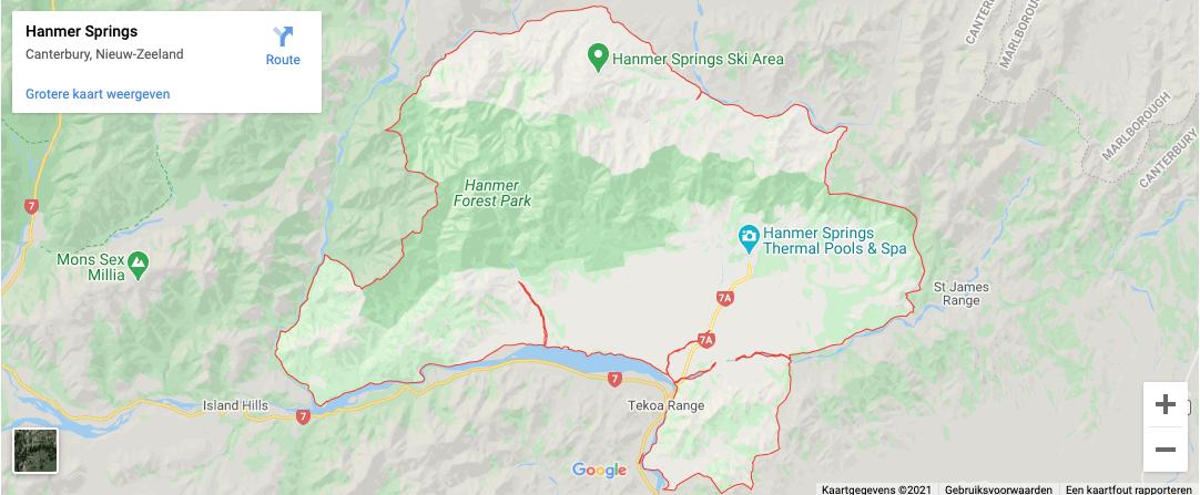 Locatie Hanmer Springs