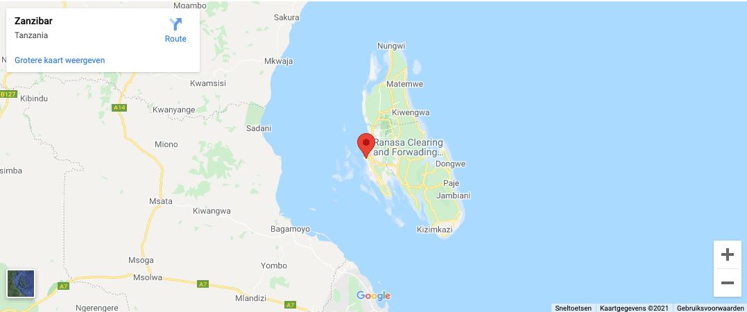 Locatie Zanzibar